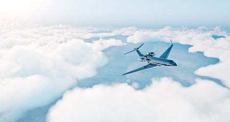 Photo of black luxury generic design private jet flying over the earth. Empty blue sky with white clouds at background. Business travel concept. Horizontal. 3d rendering