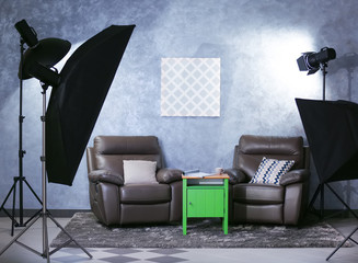 Photo studio interior on grey wall background