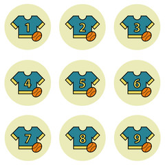 Team sport equipment and apparel vector icon set