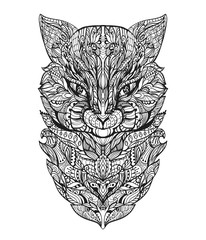 Coloring page for adult with cat head. Zentangle vector illustration.