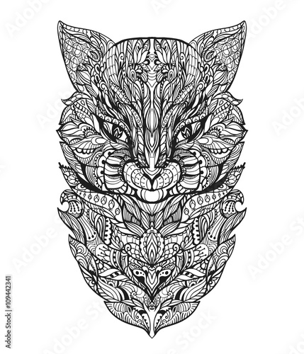 Coloring page for adult with cat head. Zentangle vector ...