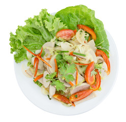 Thai cuisine spicy pork salad on white background or Yum Moo Yor,