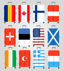 Suitcase icons set. 12 Suitcases with flags of different countries. Suitcase icon best. Vector Illustration