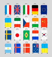 Suitcase icons set. 20 Suitcases with flags of different countries. Suitcase icon best. Vector Illustration