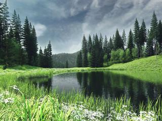 Wall Mural - Krajobraz z jeziorem, lasem i wiosenną łąką