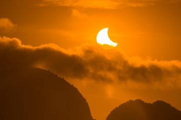 Solar eclipse on the 9th March 2016 at Phang Nga, Thailand