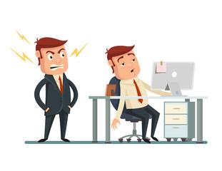 Angry boss. Vector flat cartoon illustration