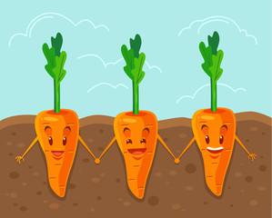 Carrot grown underground. Vector flat cartoon illustration