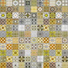Ceramic tiles patterns from Portugal yellow tone