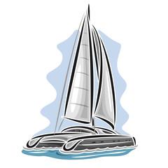 Vector logo sailing catamaran, sailboat, sailer, sloop, ship, sail boat, floating blue sea, ocean, waves. Cartoon sailing catamaran, sea summer regatta, yachting extreme sport race, sea sailing travel