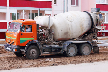 PERM, RUSSIA - MAY 15, 2015: Concrete mixer on construction site