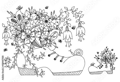 Vector Illustration Zentangl Shoe With Flowers Doodles Art Spring Flowering Summer Butterfly