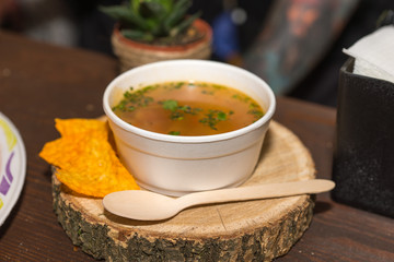 Bowl of Soup in To Go Bowl with Tortilla Chips