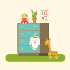 Flat baby drawers, doll, plant, picture and baby clothes.Nursery interior. Vector illustration.