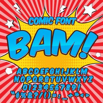 Comic alphabet set. Light blue color version. Letters, numbers and figures for kids' illustrations, websites, comics