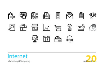 Set of vector internet marketing, shopping outline icons.