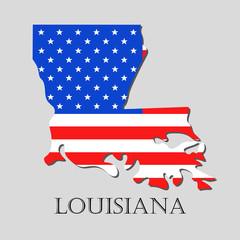 Map State of Louisiana in American Flag - vector illustration.