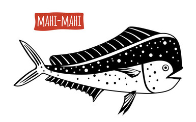 Mahi-mahi, vector cartoon illustration