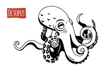 Octopus, vector cartoon illustration