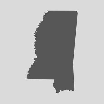 Black map state Mississippi - vector illustration.