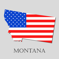 Map State of Montana in American Flag - vector illustration.