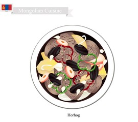 Horhog or Mongolian Meat Barbecue with Carrots and Potatoes