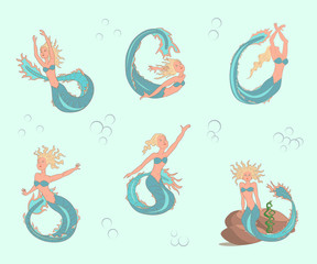 mermaids set in cartoon style, suitable for children's fairy tales, coloring pages. Vector illustration. eps10
