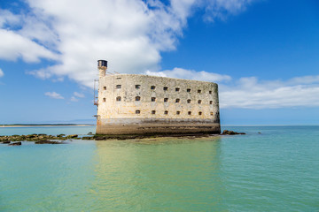 View Fort Boyard at low tide, France
