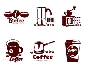 Coffee logos, simple coffee symbols Set of coffee symbols on a white background for coffee or restaurants, mug, coffee beans, a Turk, a coffee grinder, a glass, a set of elements