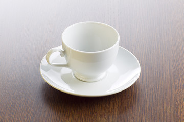 empty cup and saucer.