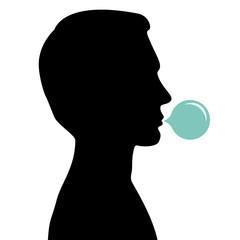Man blowing bubble gum