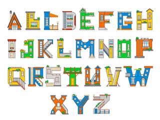 Illustration house letter alphabet