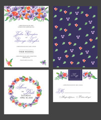 Wedding Invitation card with floral watercolor flowers