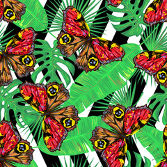 Butterfly. Seamless pattern of butterflies and palm leaves. Endless colorful texture vector background. Perfect for wallpapers, pattern fills, web page backgrounds, surface textures, textile