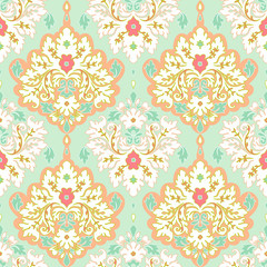 Seamless vector floral damask pattern. Classic Background