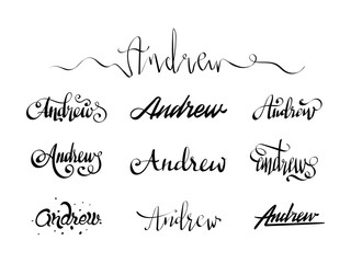 Personal name Andrew. Vector handwritten calligraphy tattoo design set