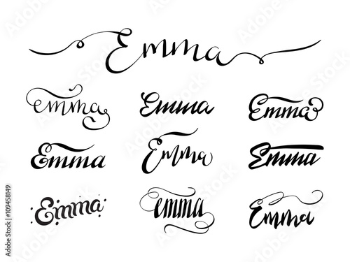 Personal Name Emma Vector Handwritten Calligraphy Tattoo Design Set