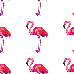 Seamless summer pattern with flamingo vector background. Perfect for wallpapers, pattern fills, web page backgrounds, surface textures, textile