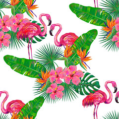 Seamless summer tropical pattern with flamingo, palm leaves and flowers vector background. Perfect for wallpapers, pattern fills, web page backgrounds, surface textures, textile