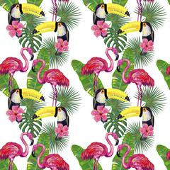 Seamless summer pattern with flamingo and toucan exotic bird, palm leaves, tropical hibiscus flower vector background. Perfect for wallpapers, pattern fills, surface textures, textile