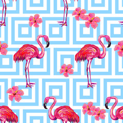 Seamless summer tropical pattern with flamingo and hibiskus flowers vector background. Perfect for wallpapers, pattern fills, web page backgrounds, surface textures, textile