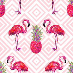 Seamless summer tropical pattern with flamingo and pineapple vector background. Perfect for wallpapers, pattern fills, web page backgrounds, surface textures, textile