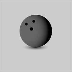 Black bowling ball icon on gray background. Vector illustration.