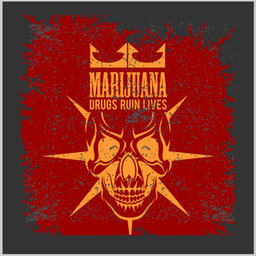 Marijuana Skull on grunge background. Vector for prints and tshirts