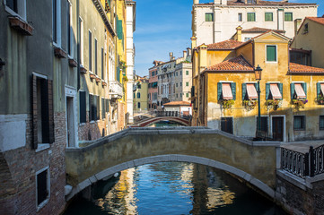 Venice glimpse of a typical street with bridges