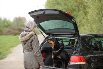 Hund sitzt im Auto, Frau steht vor dem Auto - Beauceron