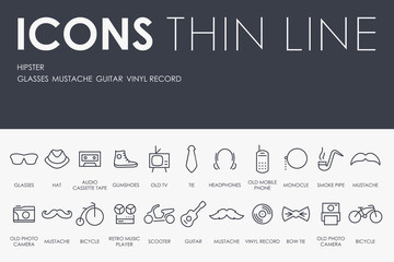Hipster Thin Line Icons