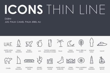 Dubai Thin Line Icons