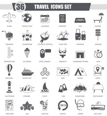 Vector Travel black icon set. Dark grey classic icon design for web.
