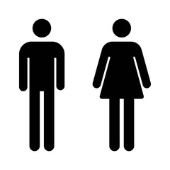 Male and female bathroom / restroom sign flat icon for apps and websites